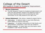 college of the desert bsi research project for academic improvement