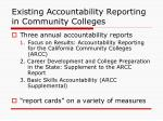 existing accountability reporting in community colleges