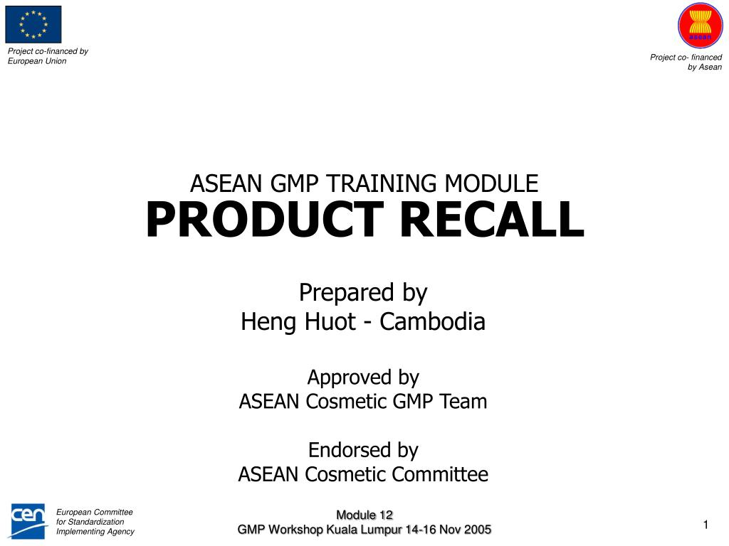 asean gmp training module product recall l.