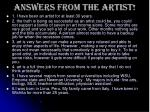 answers from the artist