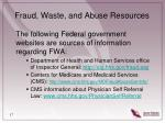fraud waste and abuse resources