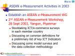 asean e measurement activities in 2003