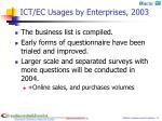 ict ec usages by enterprises 2003