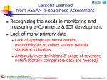 lessons learned from asean e readiness assessment