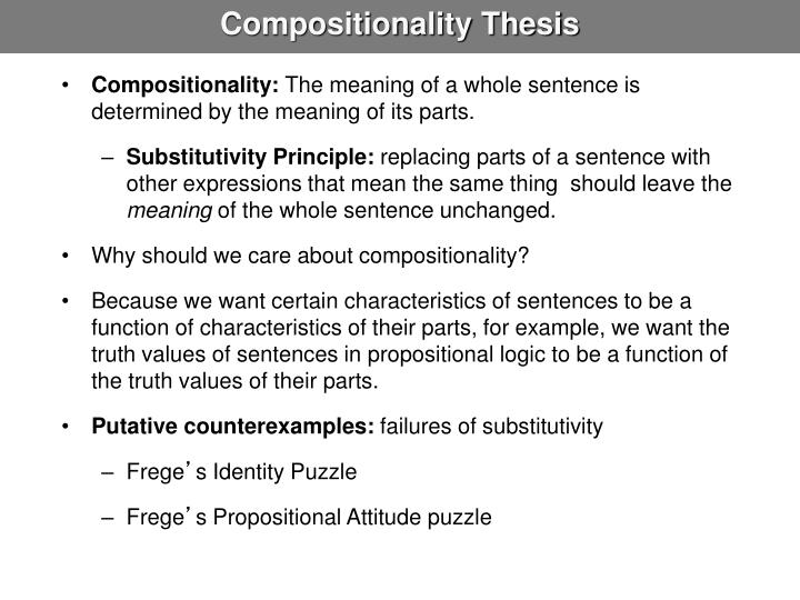 Compositionality thesis