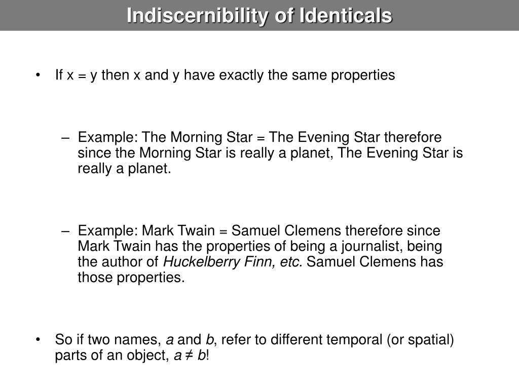 Indiscernibility of Identicals