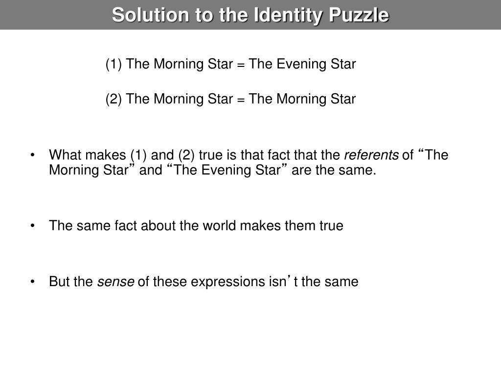 Solution to the Identity Puzzle