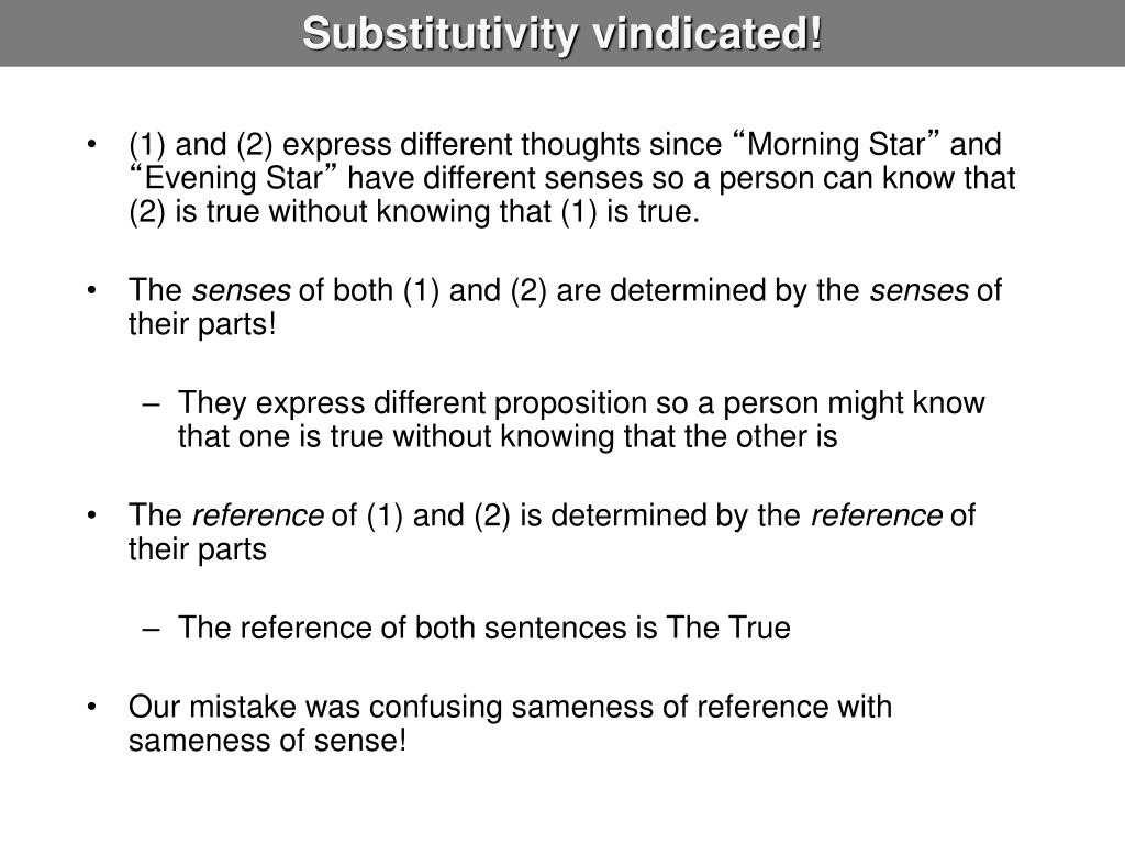 Substitutivity vindicated!