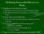 defining successful return to work11