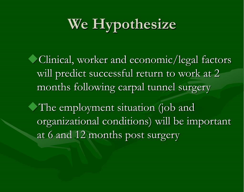 We Hypothesize
