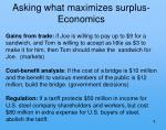 asking what maximizes surplus economics