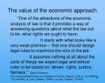 the value of the economic approach