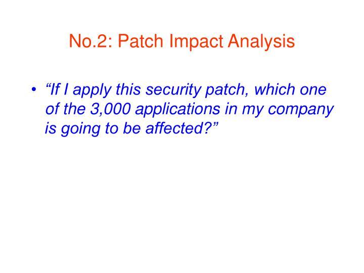 No.2: Patch Impact Analysis