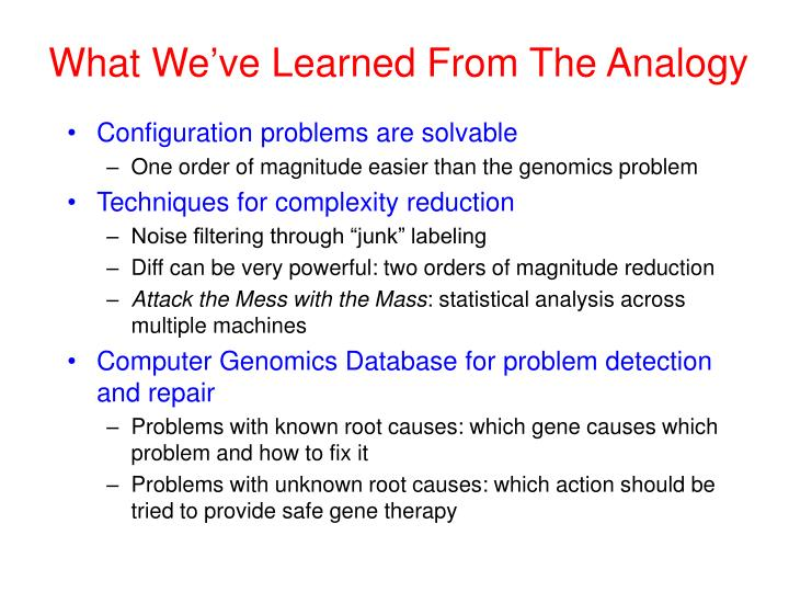 What We've Learned From The Analogy