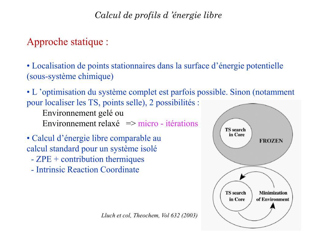 Calcul de profils d'énergie libre