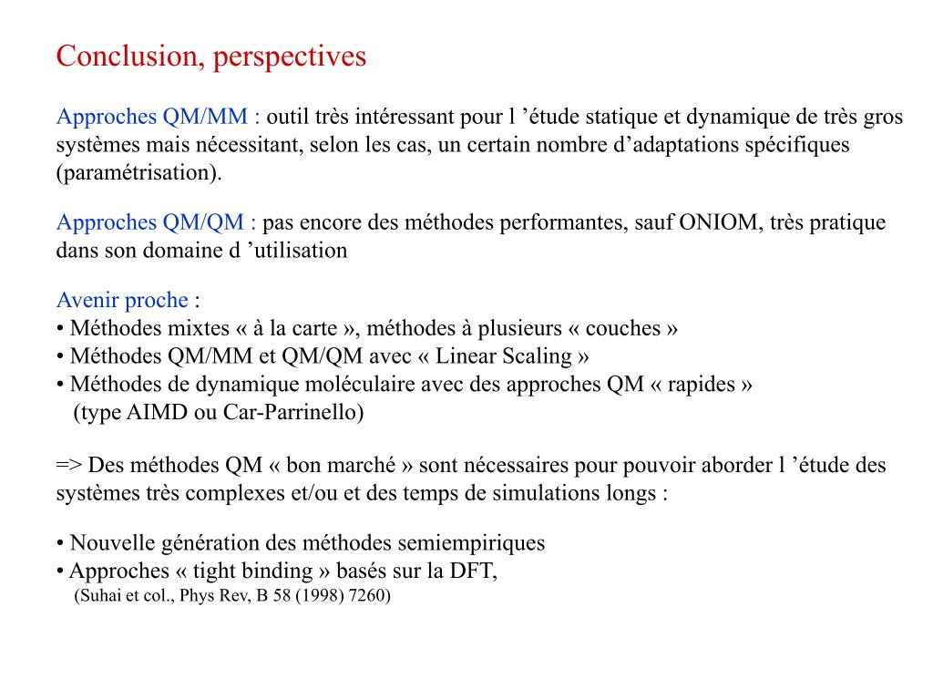 Conclusion, perspectives