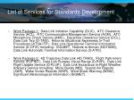 list of services for standards development