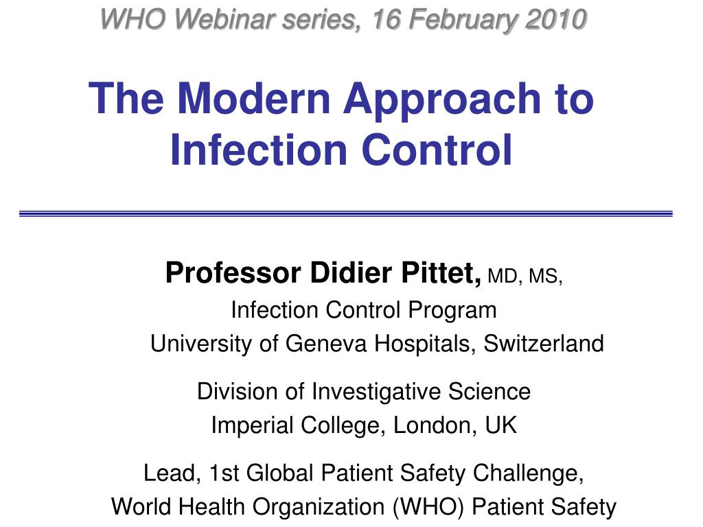 the modern approach to infection control l.