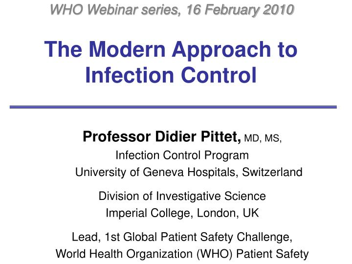 the modern approach to infection control n.