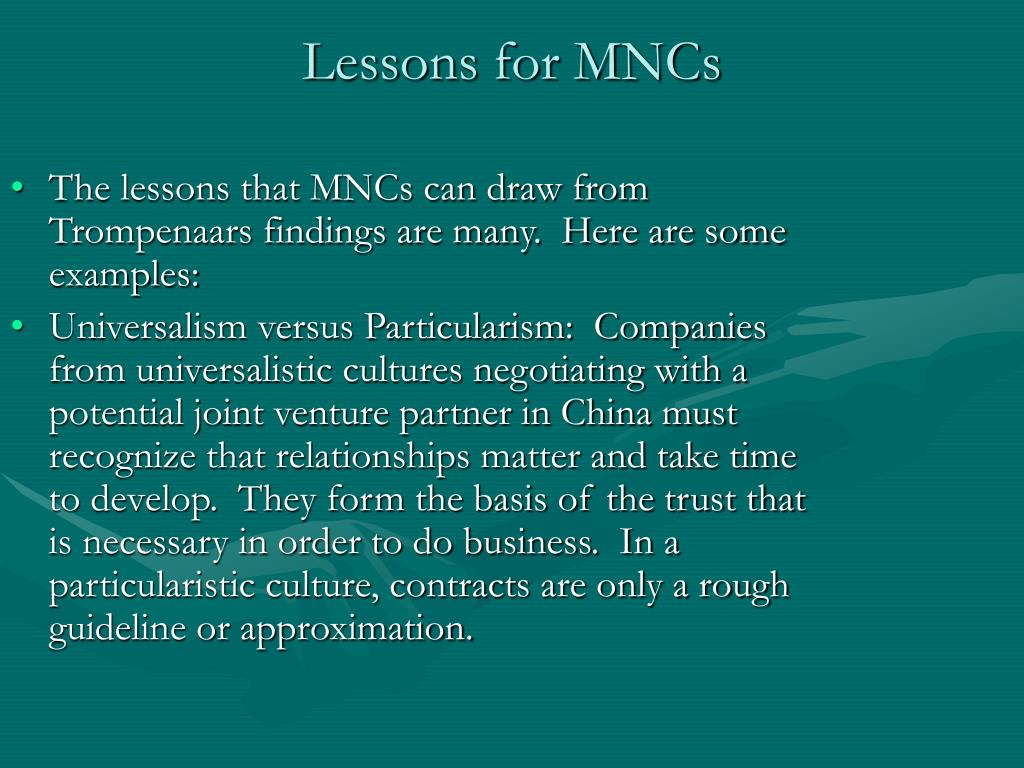 Lessons for MNCs
