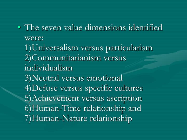 The seven value dimensions identified were: