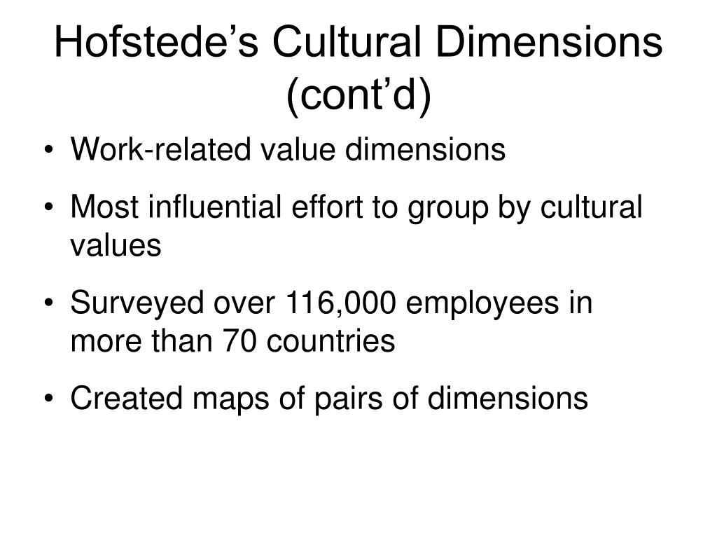 Hofstede's Cultural Dimensions (cont'd)
