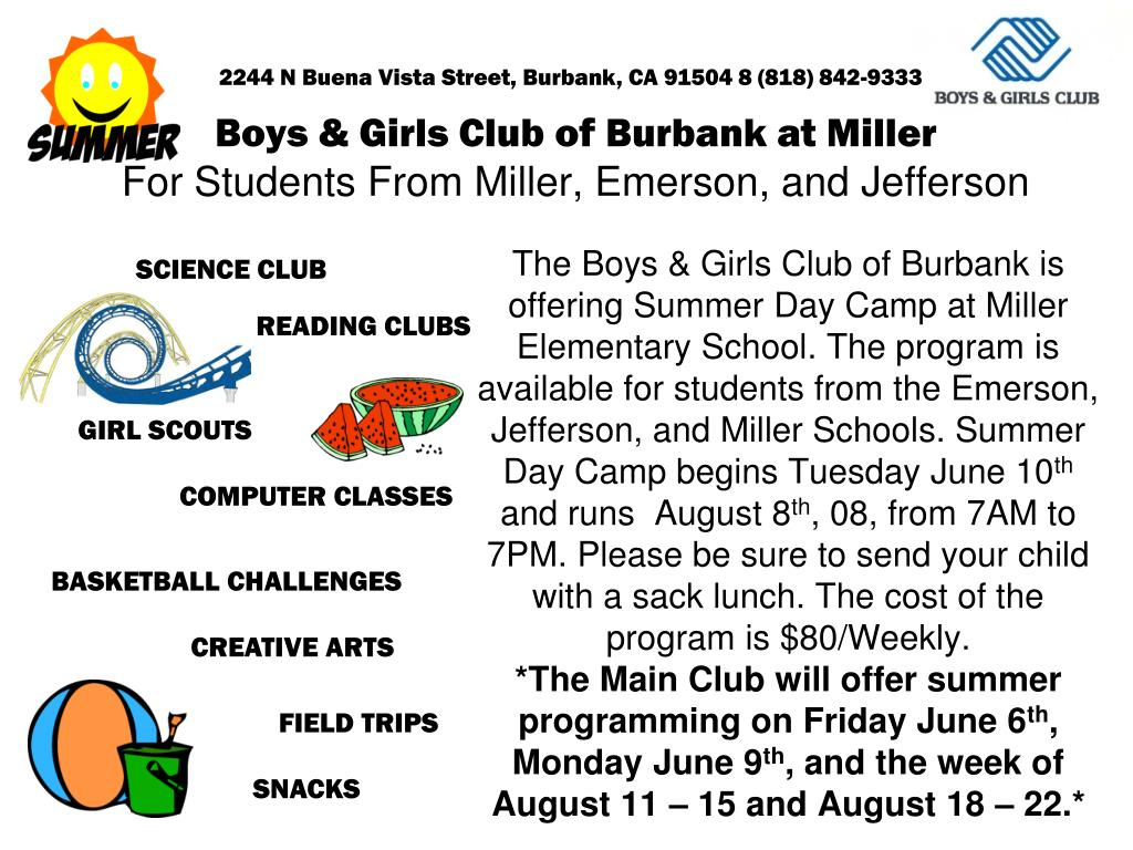 boys girls club of burbank at miller for students from miller emerson and jefferson l.