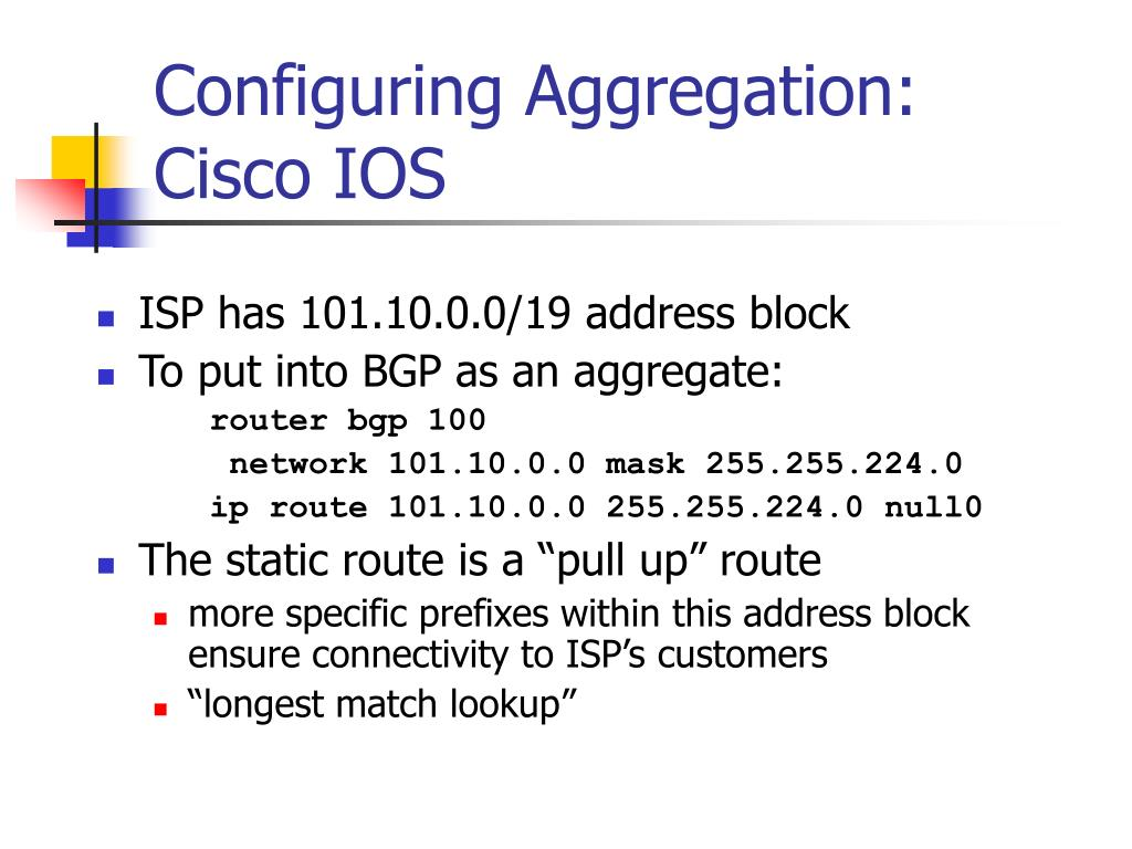 Configuring Aggregation: Cisco IOS