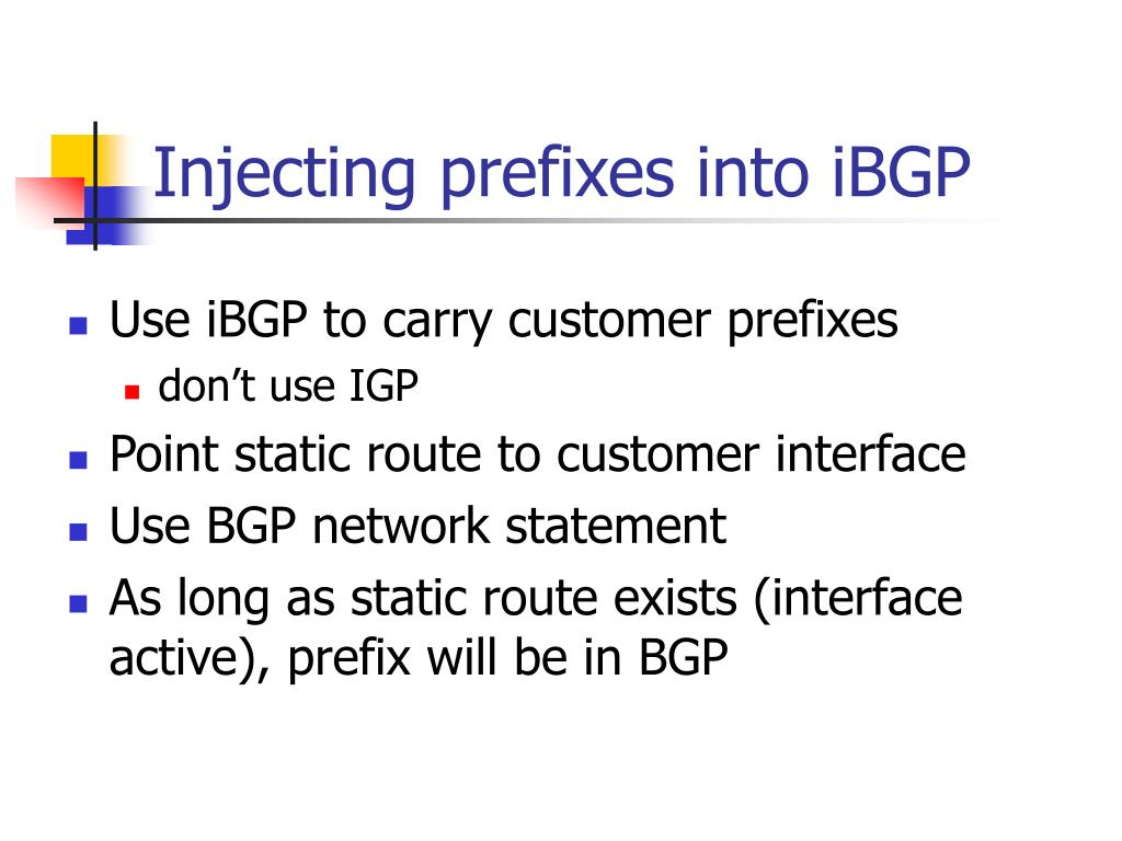 Injecting prefixes into iBGP