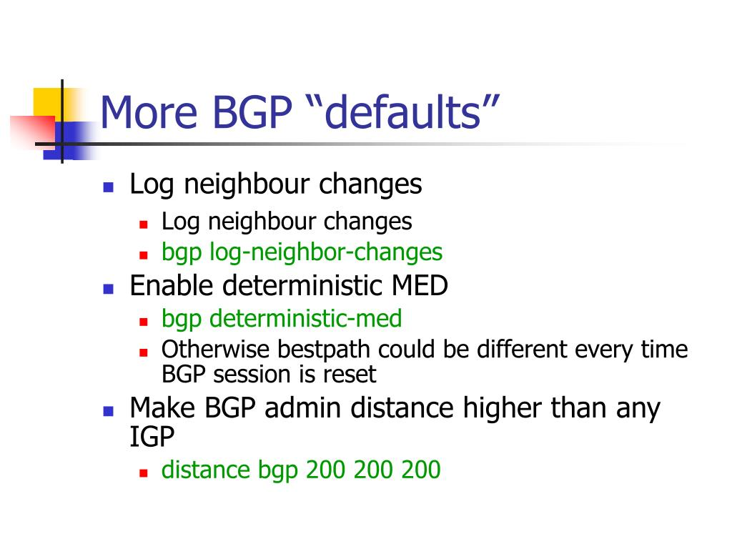 "More BGP ""defaults"""