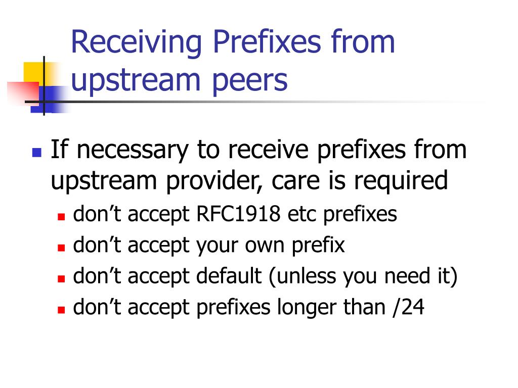Receiving Prefixes from upstream peers
