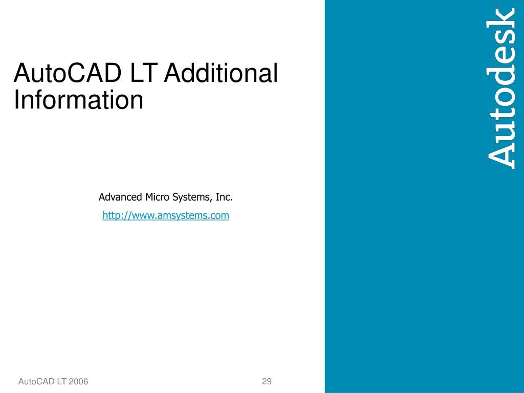 AutoCAD LT Additional Information