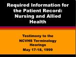 required information for the patient record nursing and allied health