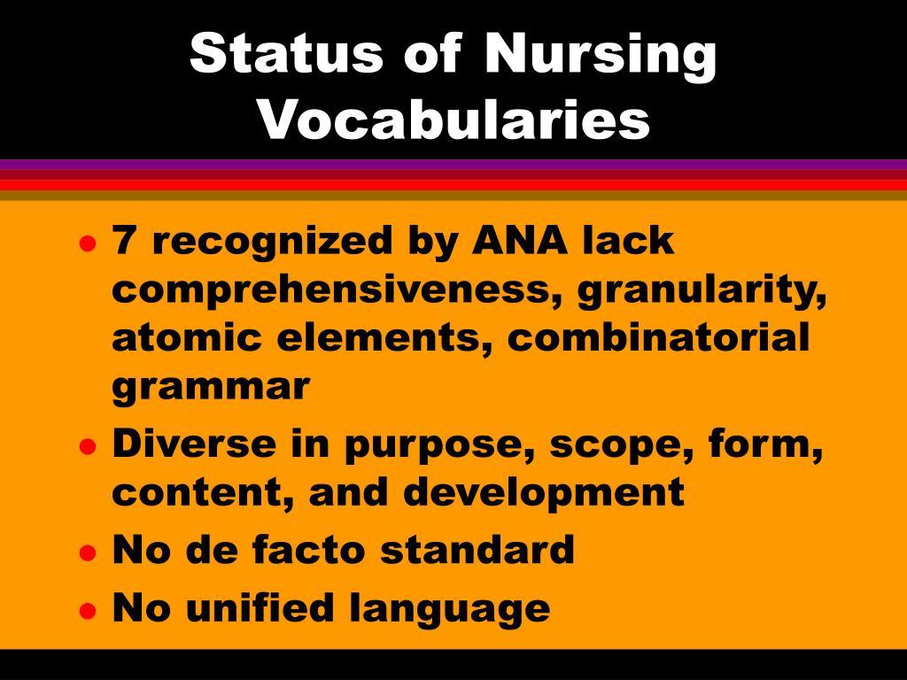 Status of Nursing Vocabularies