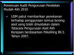 penemuan audit pengurusan peralatan mudah alih 2010