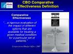 cbo comparative effectiveness definition