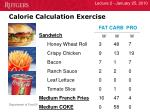 calorie calculation exercise1