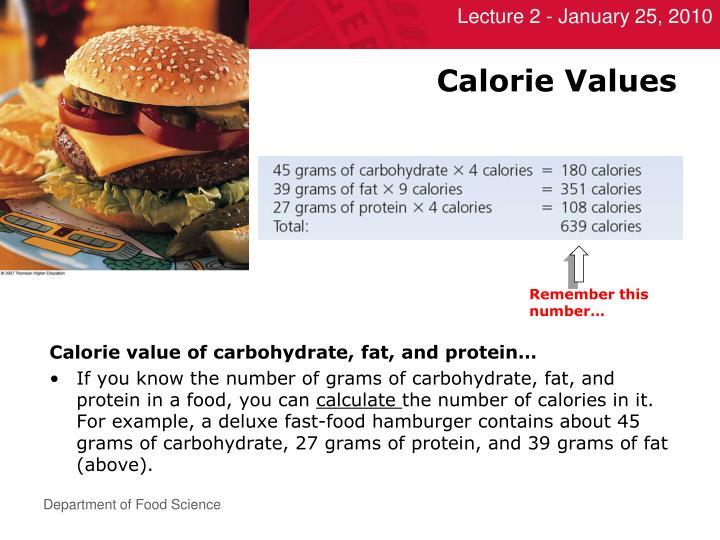 Calorie Values