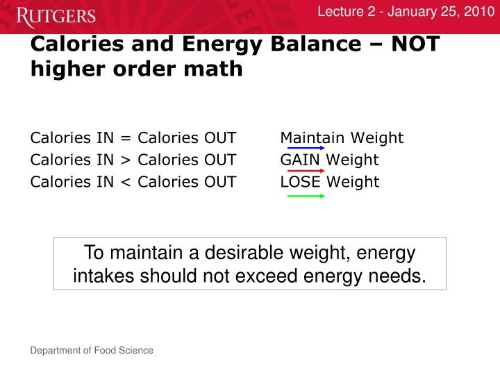 Calories and Energy Balance – NOT higher order math
