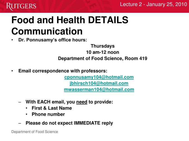 Food and health details communication