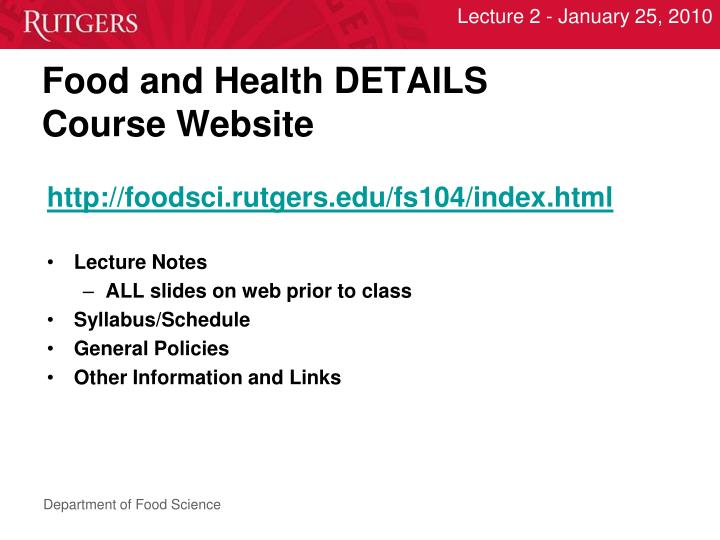 Food and health details course website