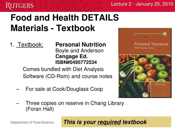 Food and Health DETAILS
