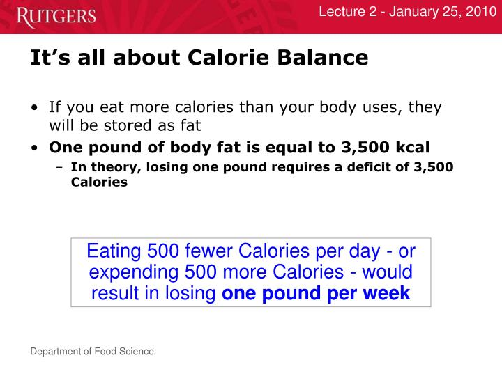 It's all about Calorie Balance