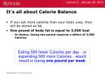 it s all about calorie balance
