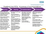 feedback from pcts a summary of recommendations