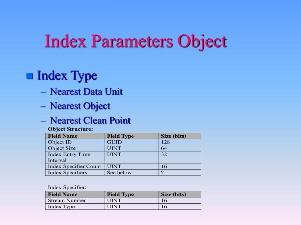 Index Parameters Object