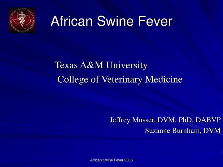 african swine fever n.