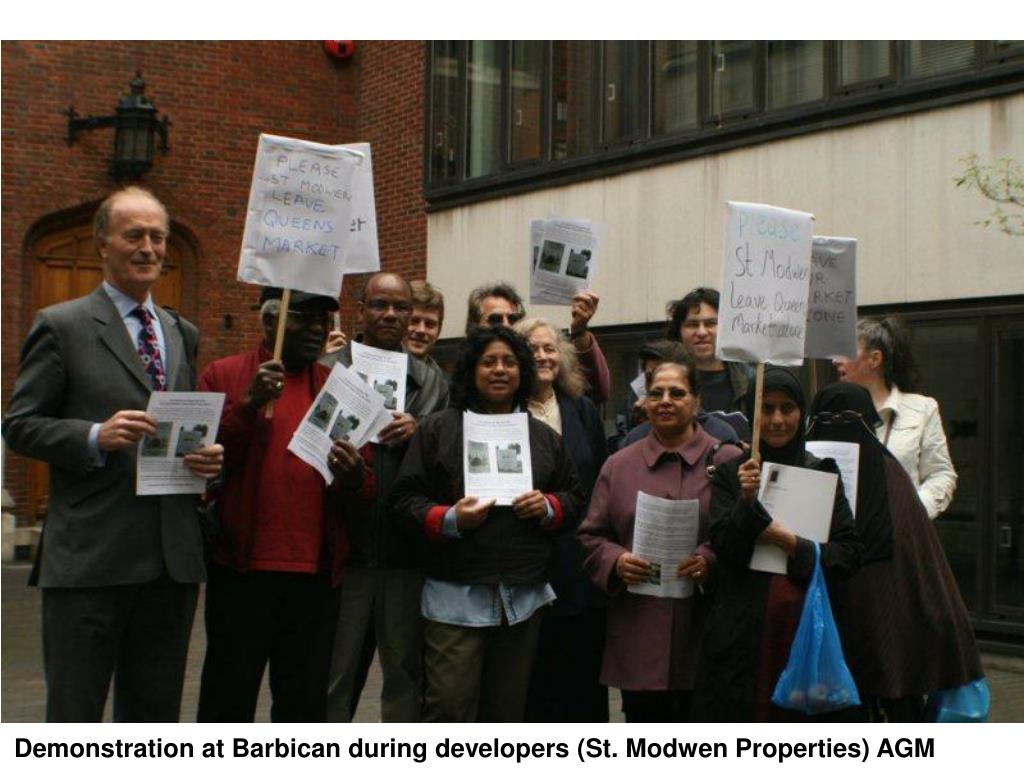 Demonstration at Barbican during developers (St. Modwen Properties) AGM