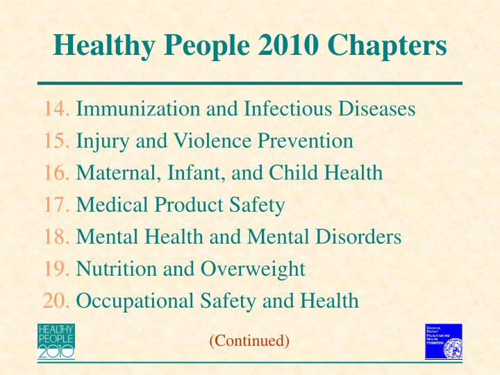 healthy people 2020 goals for immunization and infectious diseases Healthy people 2020 injury and violence & occupational safety and health immunization and infectious diseases provide a progress review of healthy people.