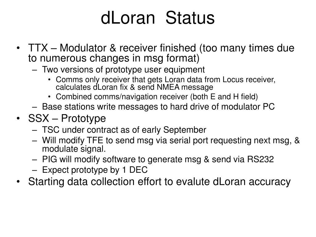dLoran  Status